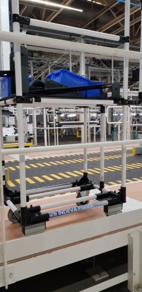 Work station trolley along production line