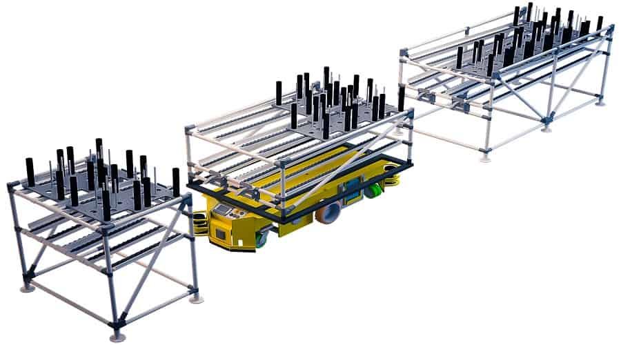 Nos shooter trolleys permettent à l'opérateur de résoudre le problème de manutention de charges lourdes