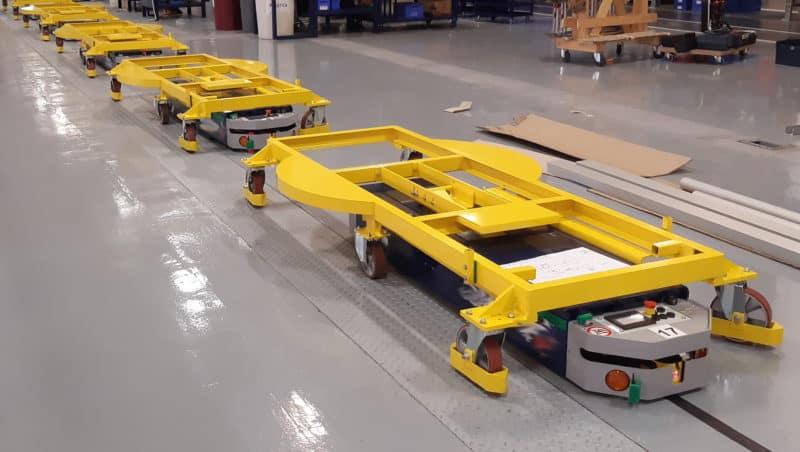 l'AGV capable de choisir entre une station d'emballage ou l'autre en fonction du type de machine transportée.