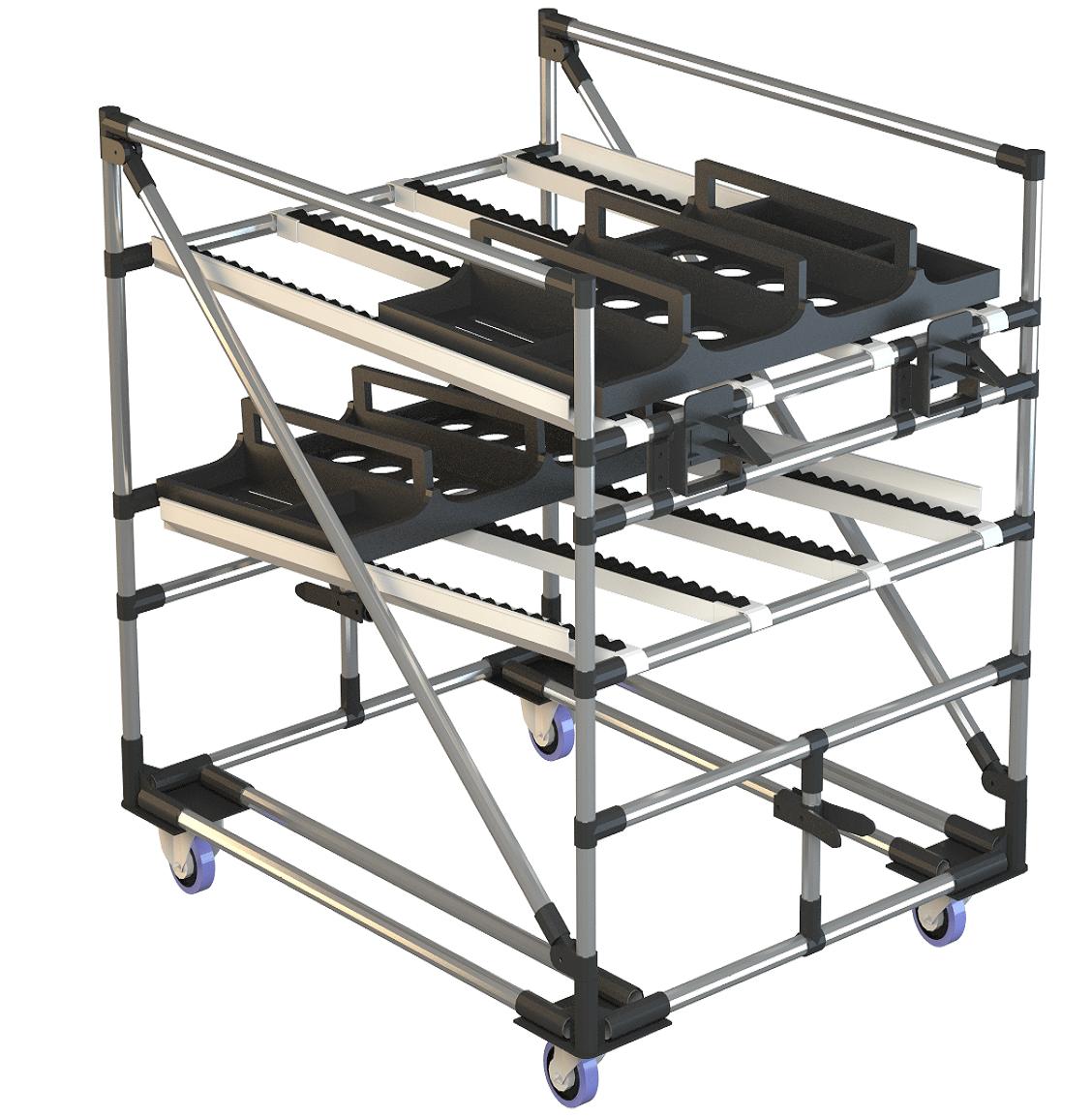 Nos shooter trolleys permettent à l'opérateur de résoudre le problème de manutention de charges lourdes, grâce à l'introduction de supports équipés de convoyeurs à rouleaux par gravité qui permettent de « glisser » les conteneurs remplis d'éléments d'une voiture à l'autre ou d'une structure fixe à la voiture.