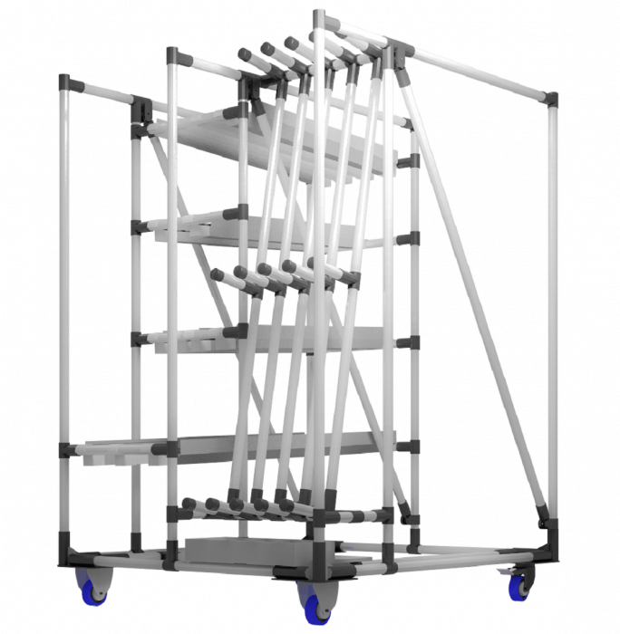 Les chariots sont particulièrement adaptés au transport de pièces délicates et précieuses le long des lignes de production. Grâce à ses composants réutilisables et réglables, ils peuvent être facilement et rapidement adaptés à n'importe quel processus de production ou produit transporté.