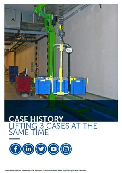 Lifting 3 cases at the same time with an INDEVA Liftronic